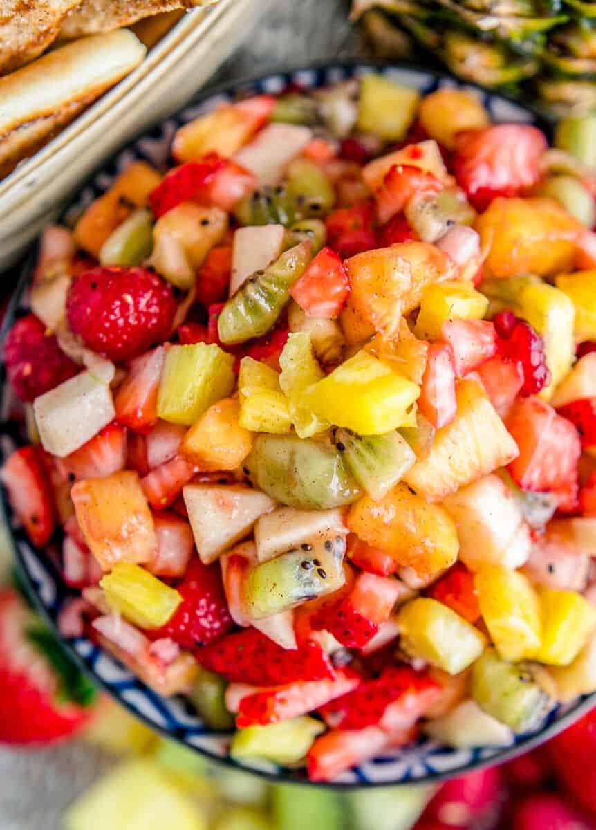 up close fruit salsa in blue bowl