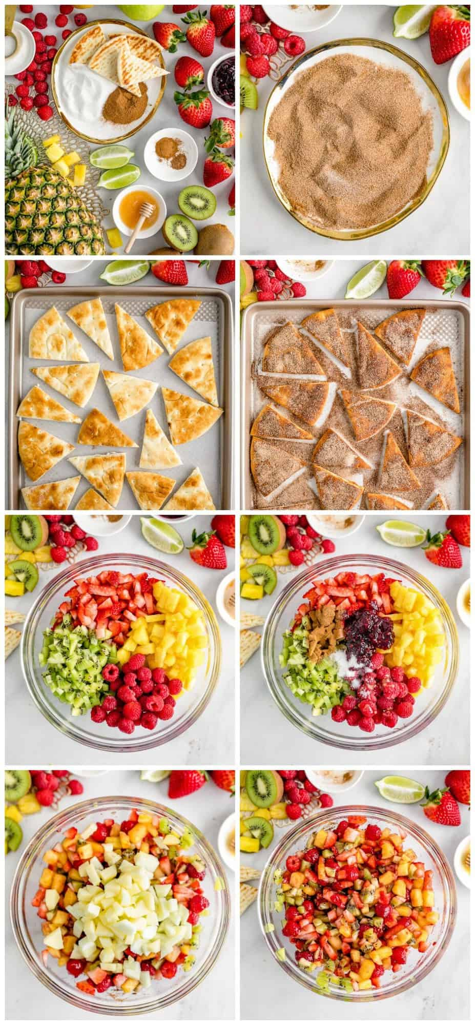 step by step photos for making fruit salsa and homemade cinnamon chips