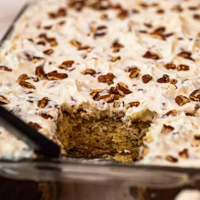 Italian Cream Cake in baking dish