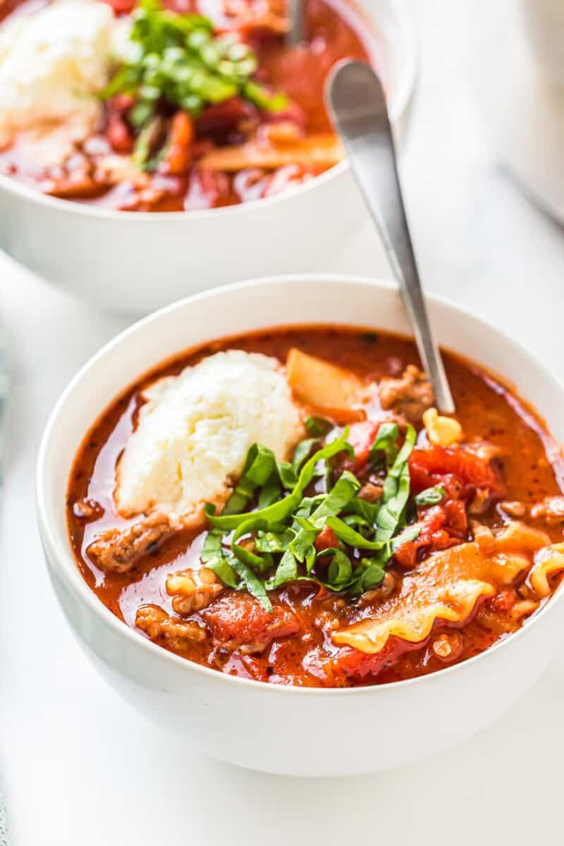 spoon in bowl of lasagna soup