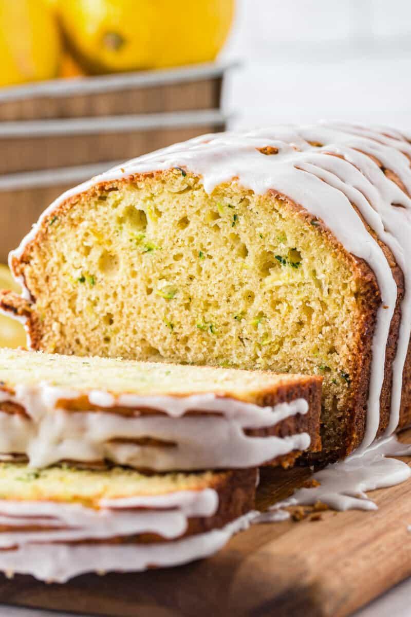 up close image of lemon zucchini bread