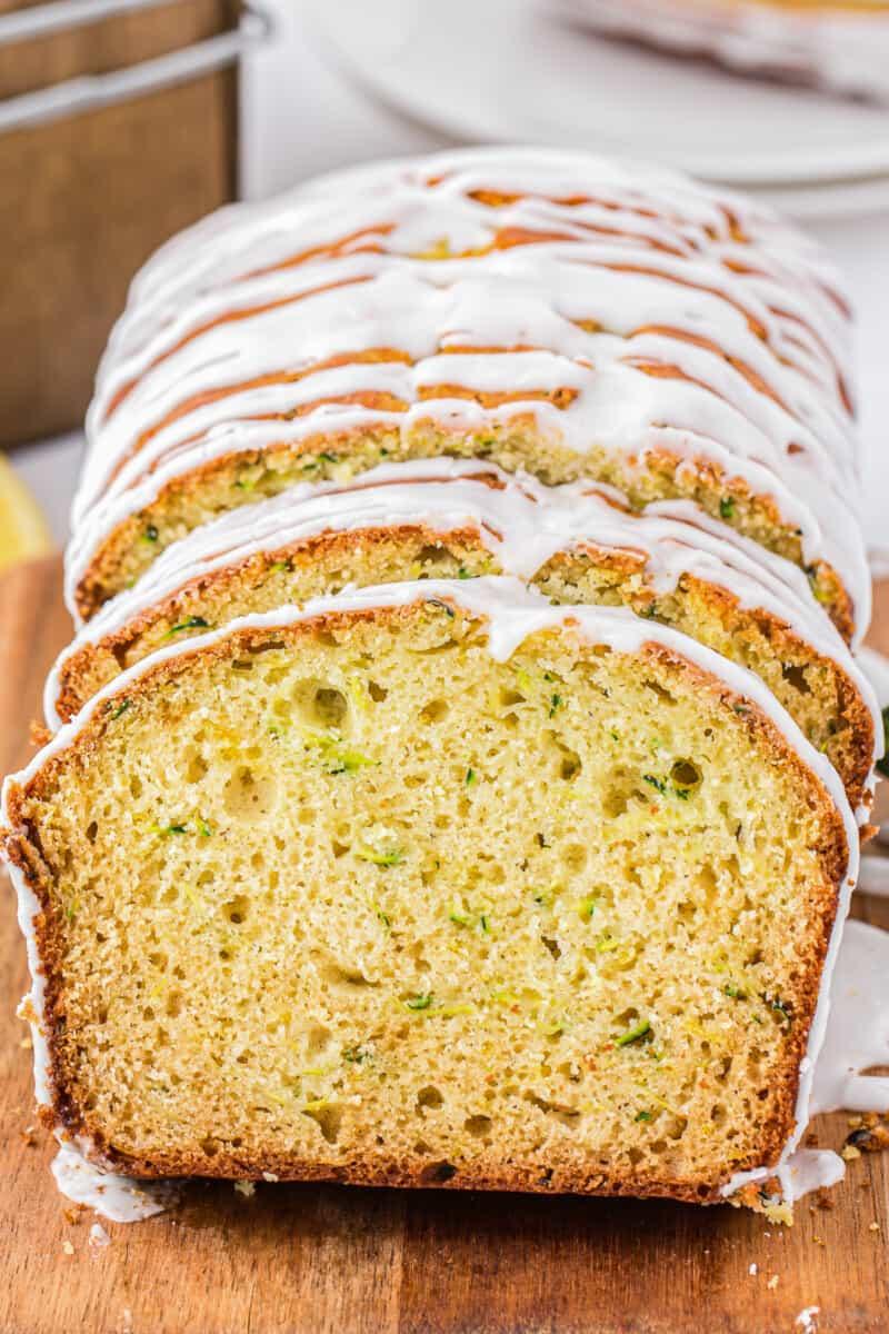 up close image of lemon zucchini bread slices