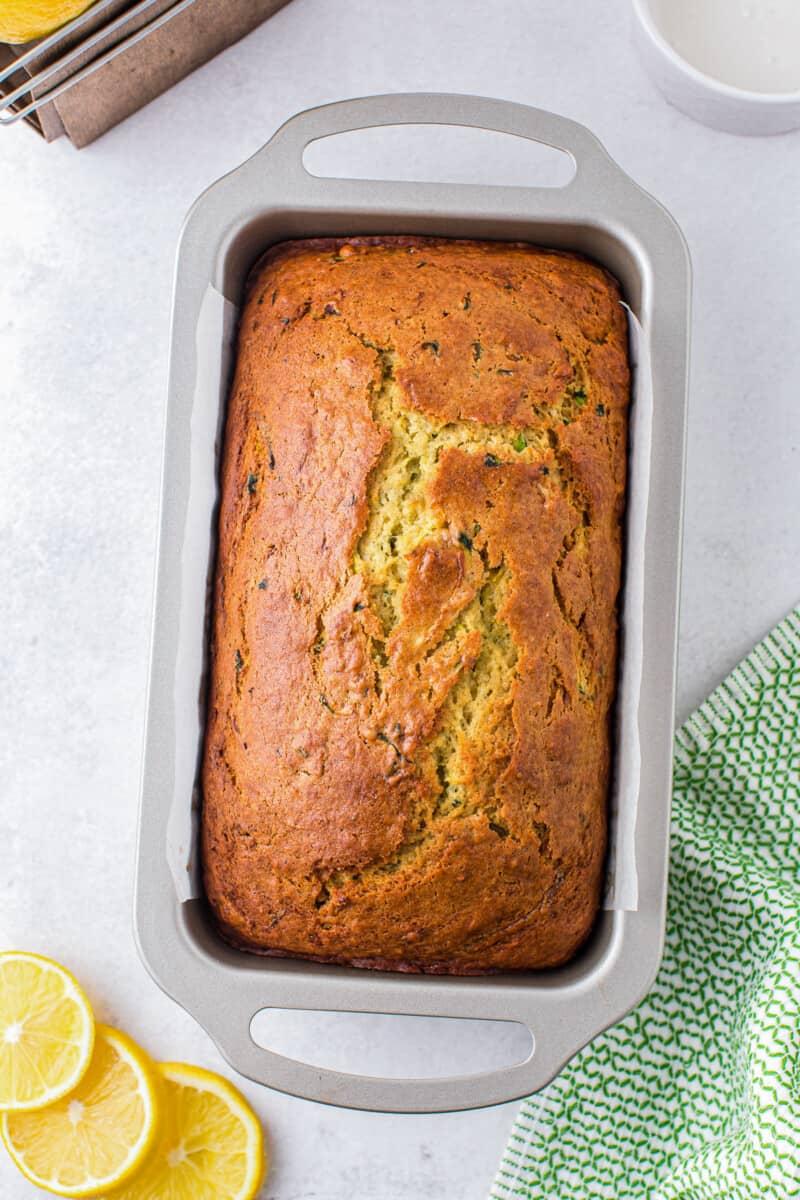 lemon zucchini bread in pan