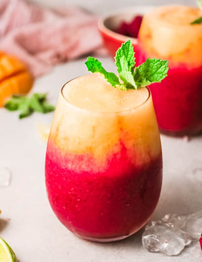 raspberry mango daiquiri in clear glass