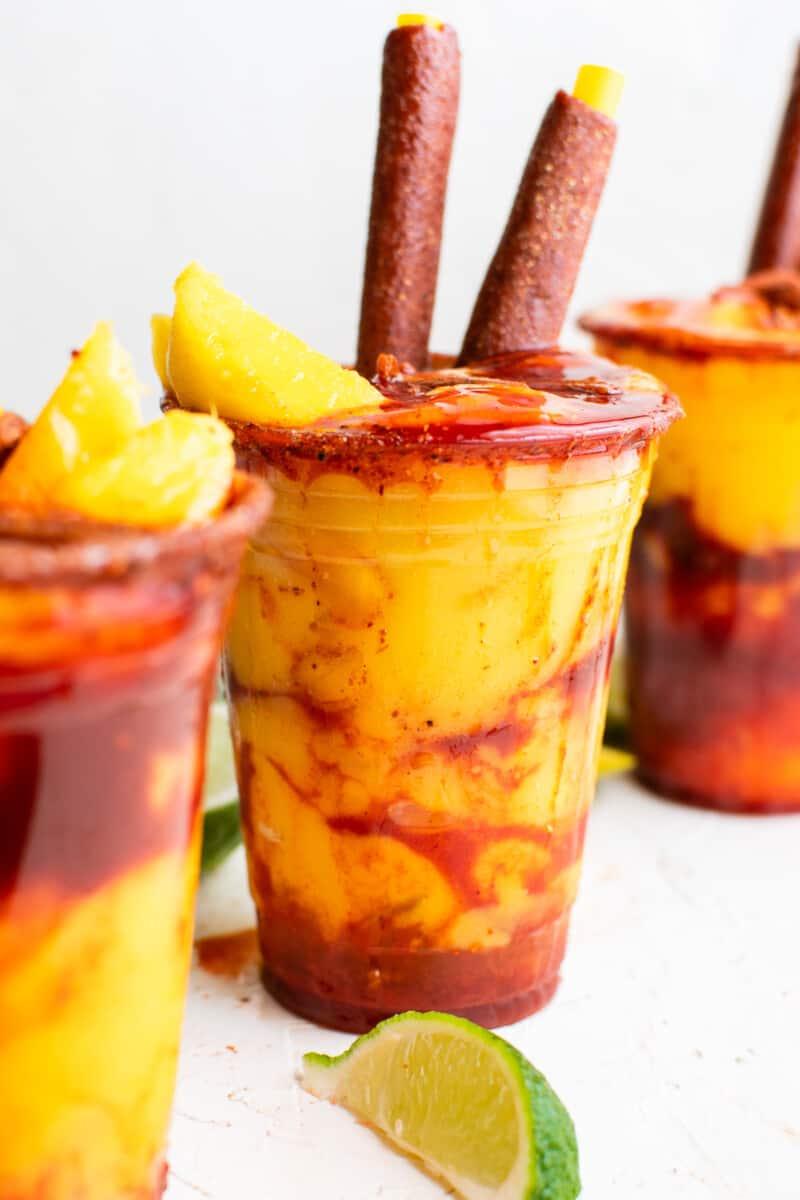 garnished mangonadas in glasses