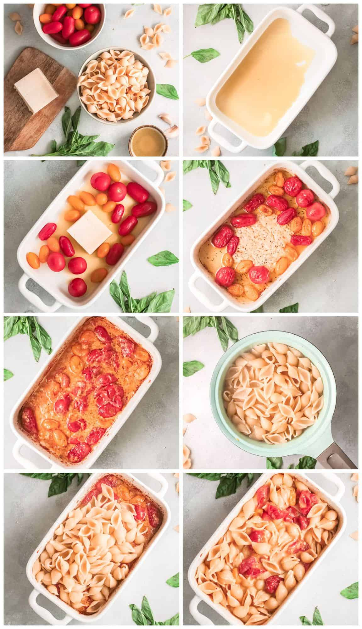 step by step photos for how to make baked parmesan pasta