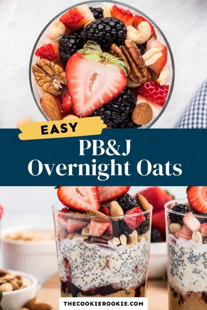 pbj overnight oats pinterest collage