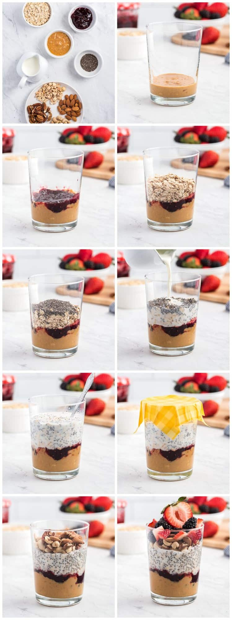 step by step photos of how to make PBJ overnight oats