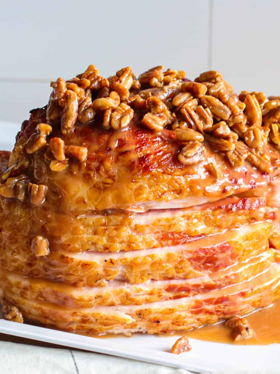 spiral ham topped with pecan bourbon glaze