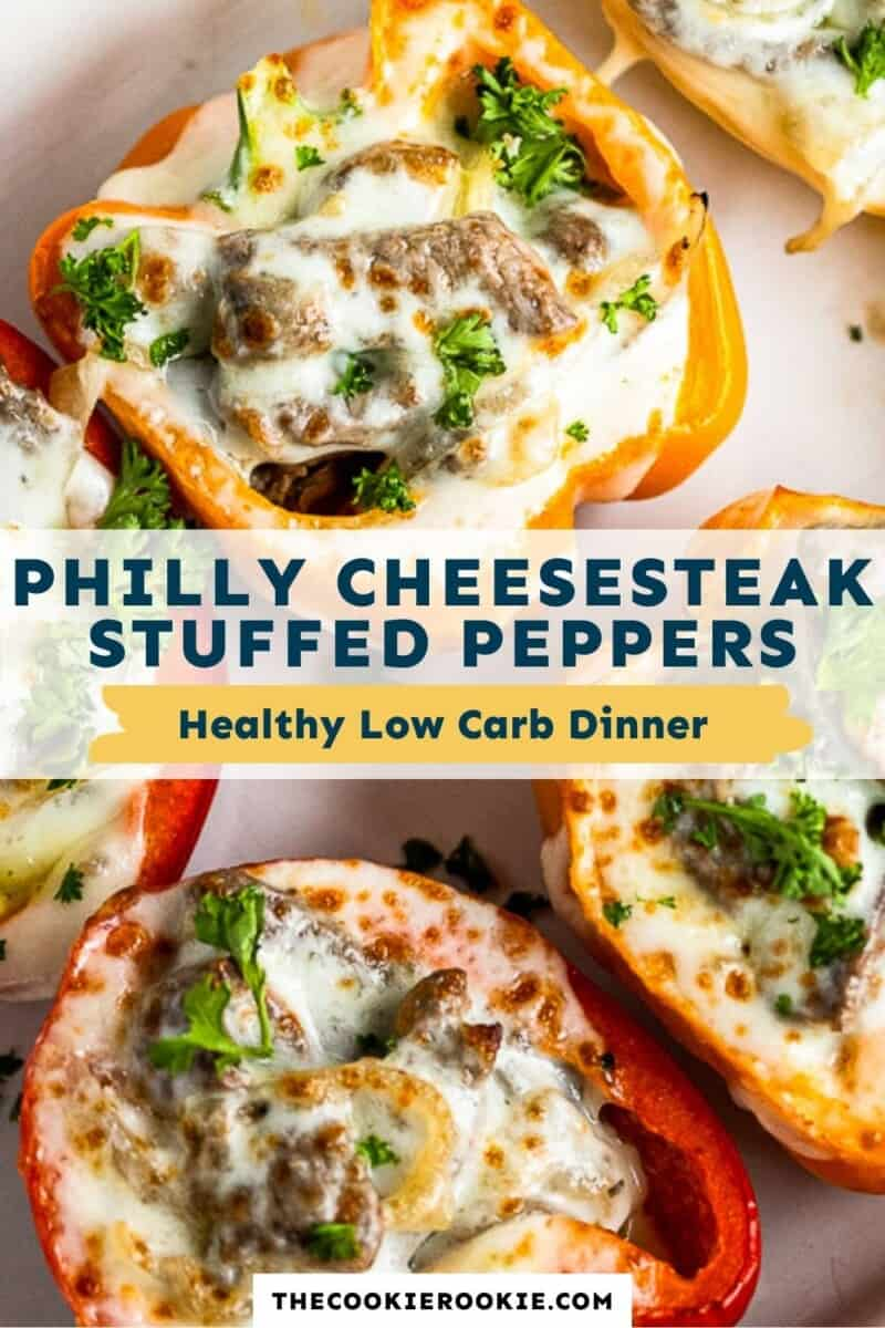 philly cheesesteak stuffed peppers pinterest collage