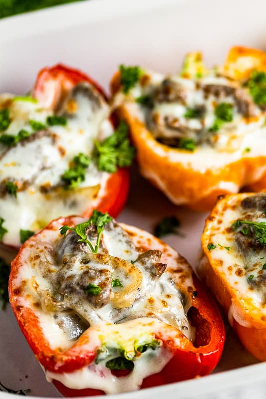 up close philly cheesesteak stuffed peppers