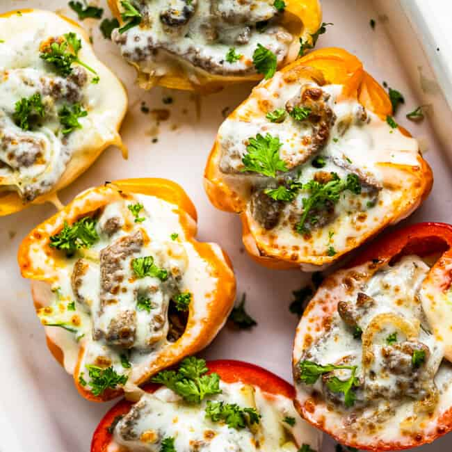 philly cheesesteak stuffed peppers in baking dish