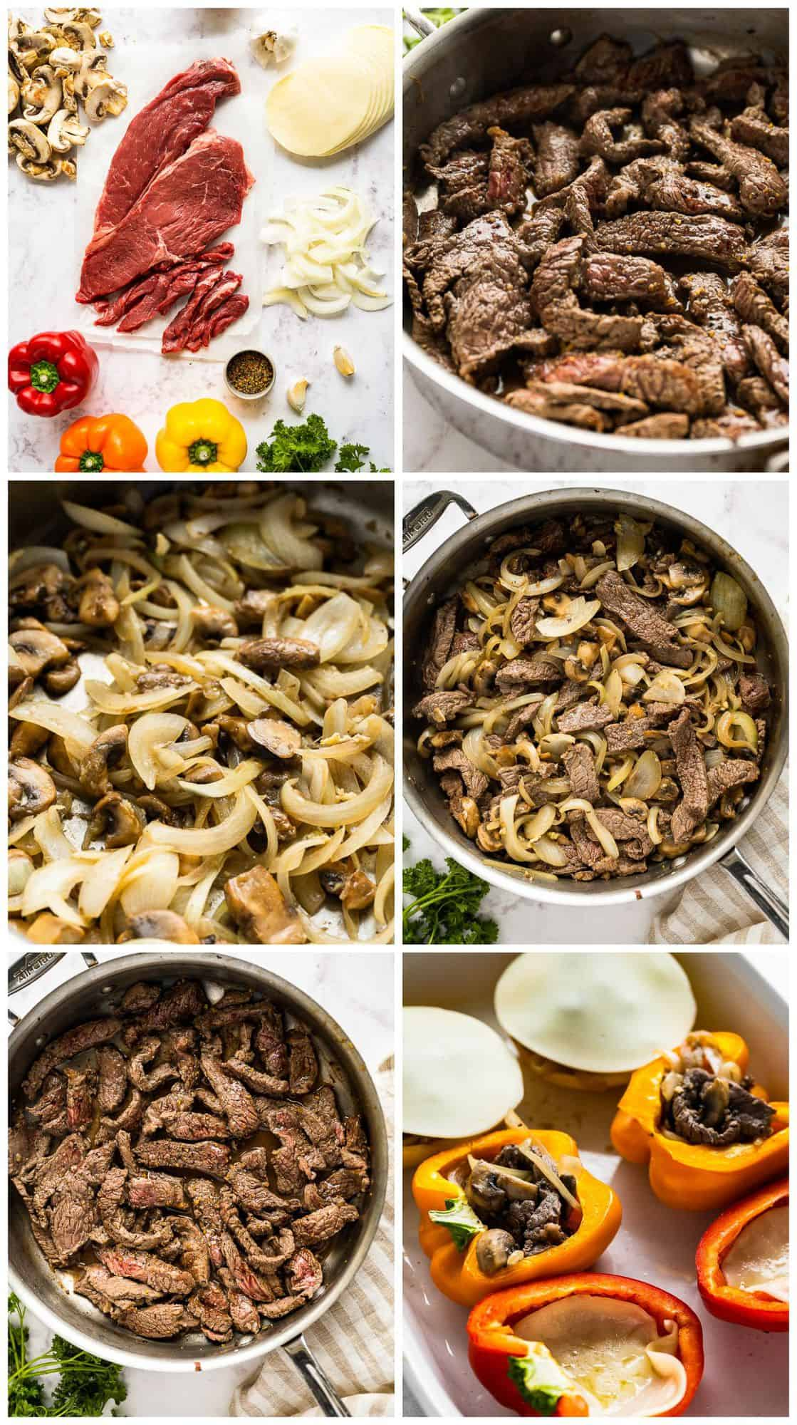 step by step photos for how to make philly cheesesteak stuffed peppers