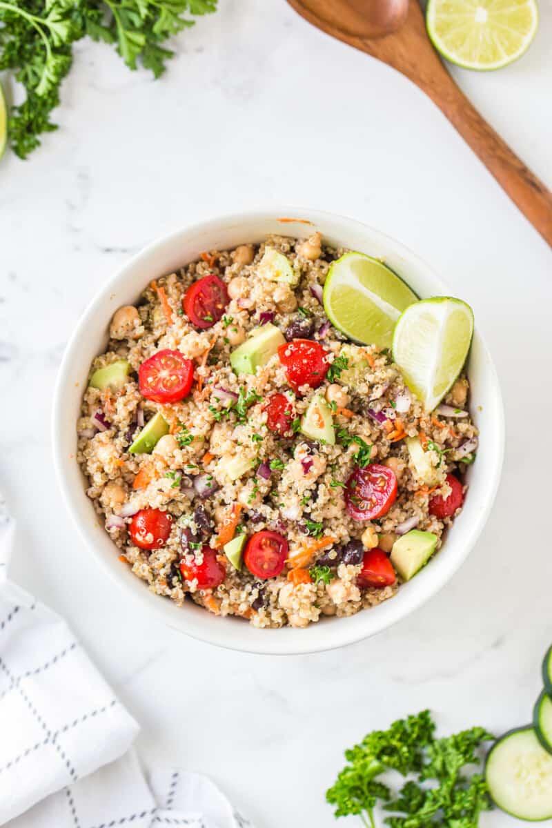 healthy quinoa salad in white bowl