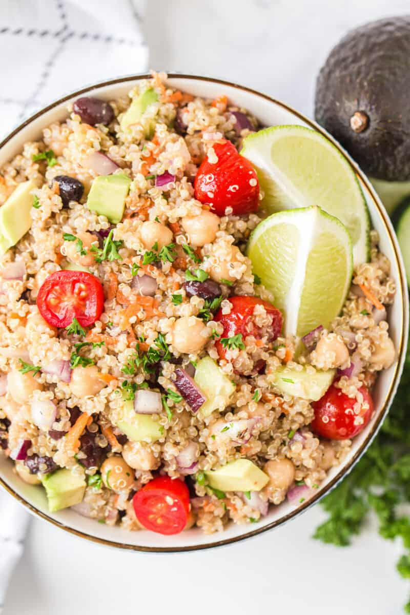 up close overhead image of quinoa salad