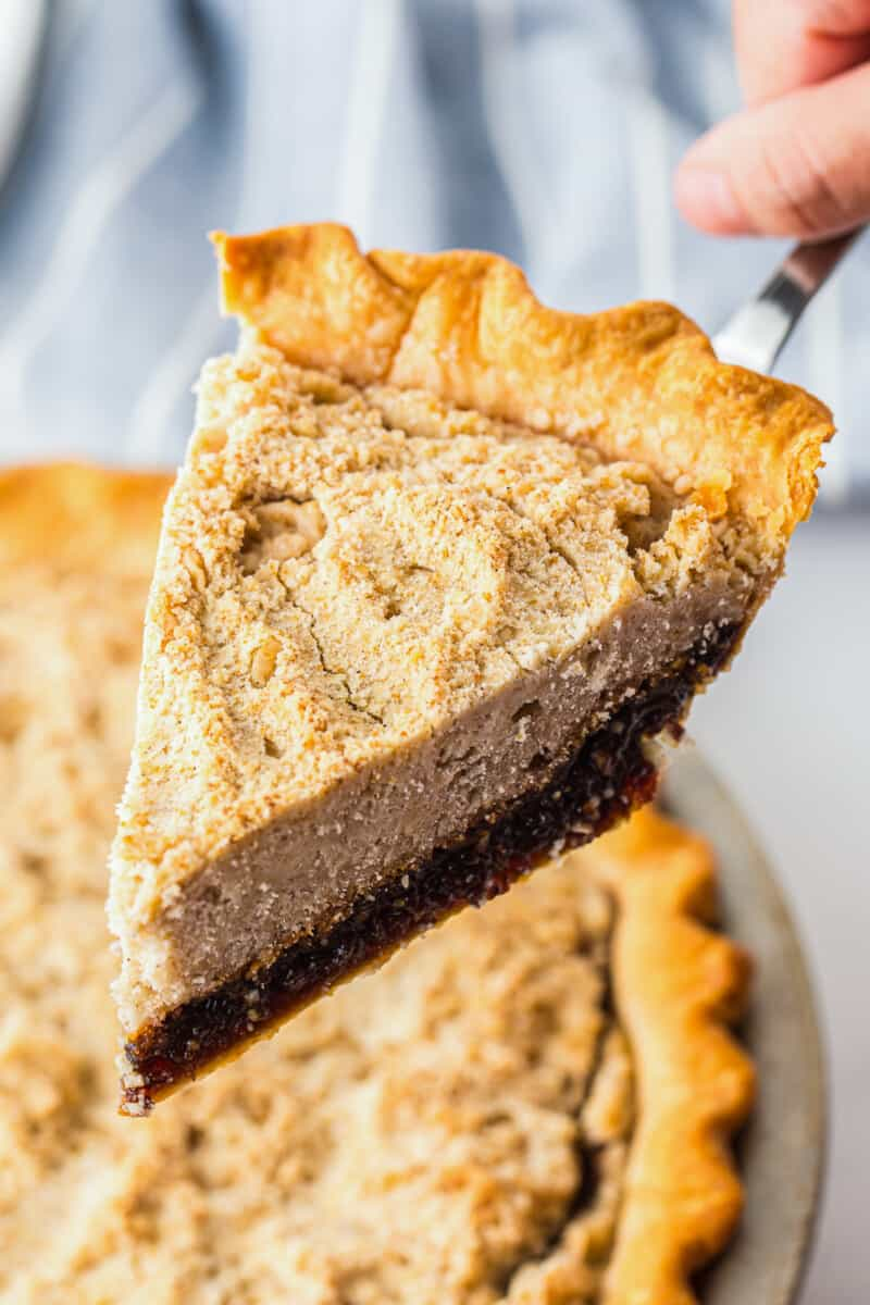 lifting up slice of shoofly pie