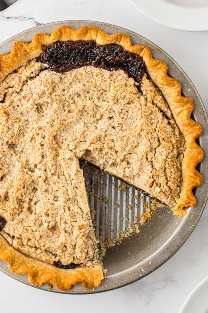 overhead shoofly pie with one slice out