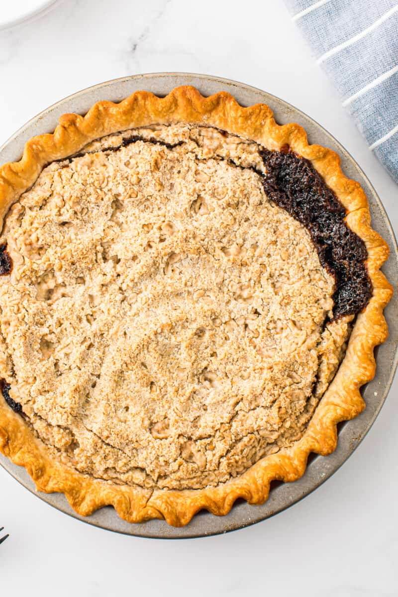 overhead image of shoofly pie