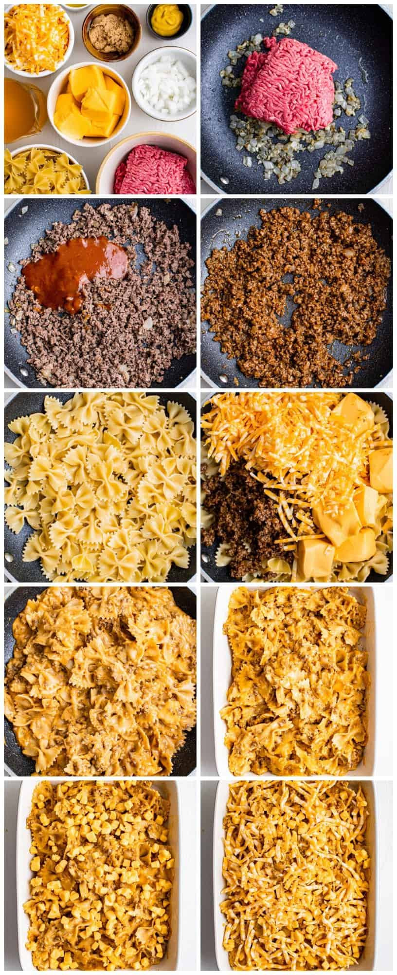step by step photos for how to make sloppy joe casserole