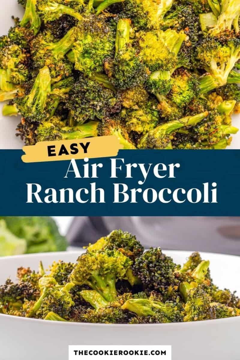 air fryer broccoli pinterest collage