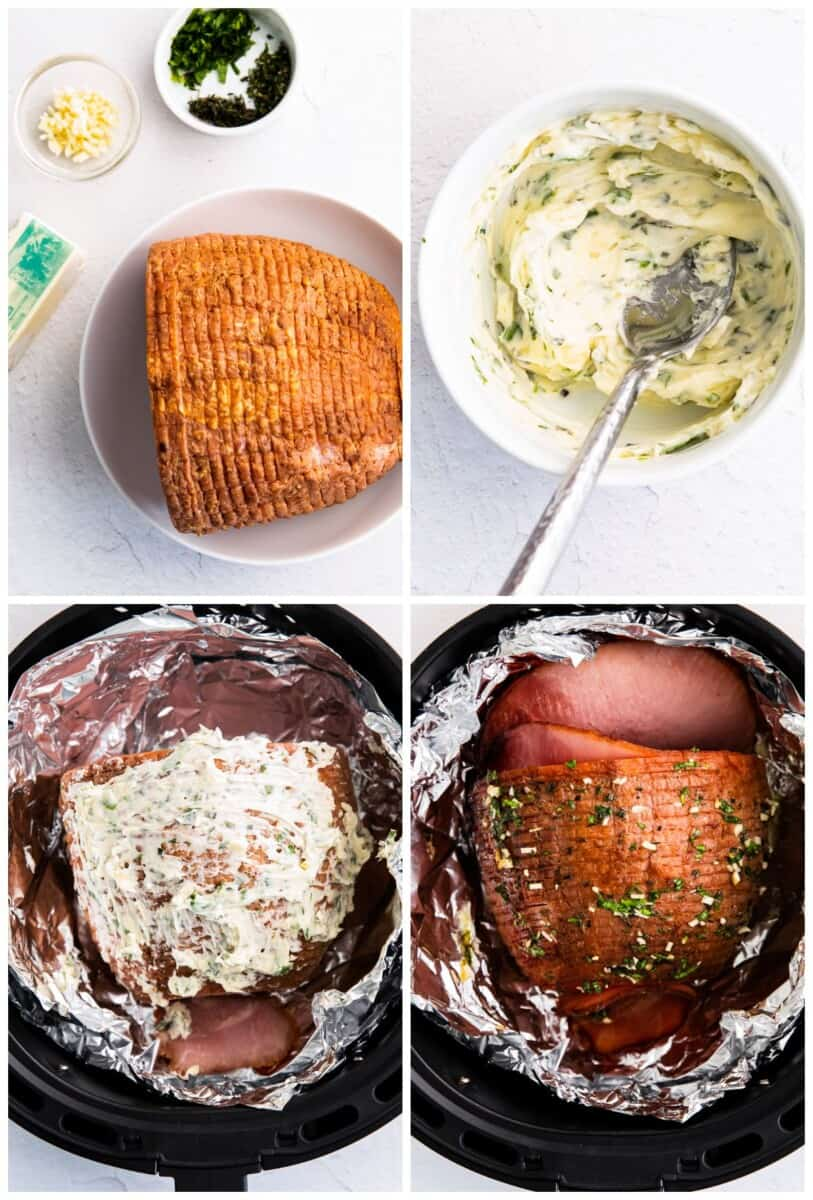 step by step photos for how to make air fryer ham