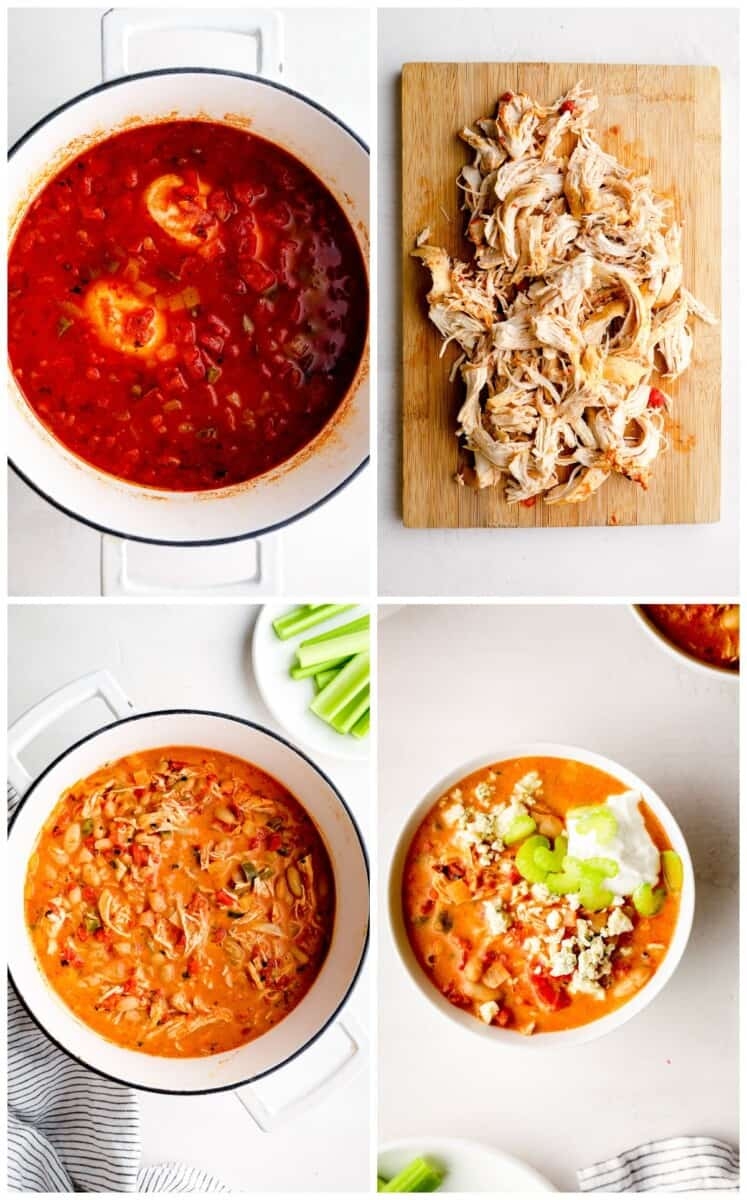step by step photos for how to make buffalo chicken chili