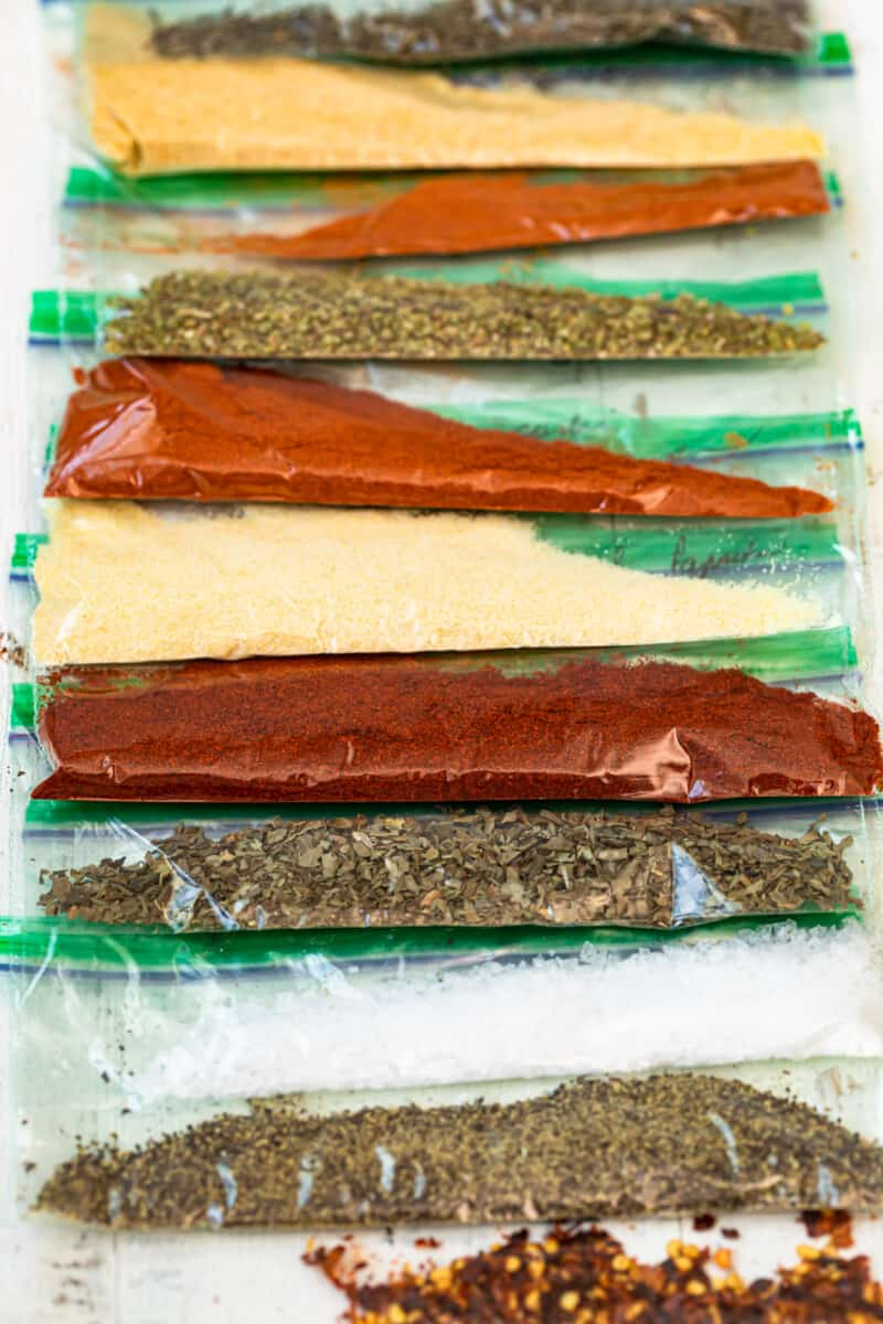 bags of spices to make creole seasoning