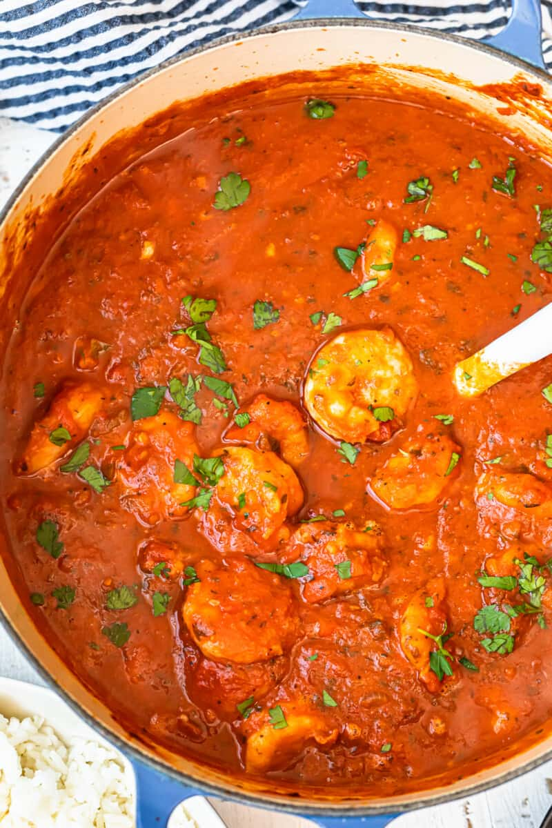 dutch oven filled with creole shrimp
