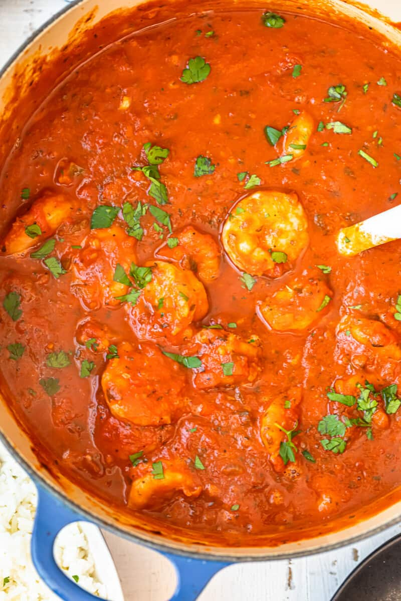 dutch oven filled with shrimp creole