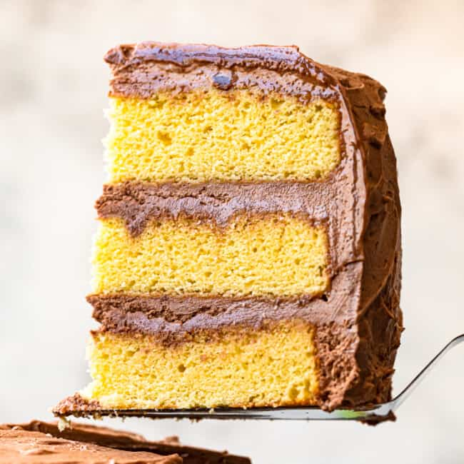 featured yellow cake with milk chocolate buttercream