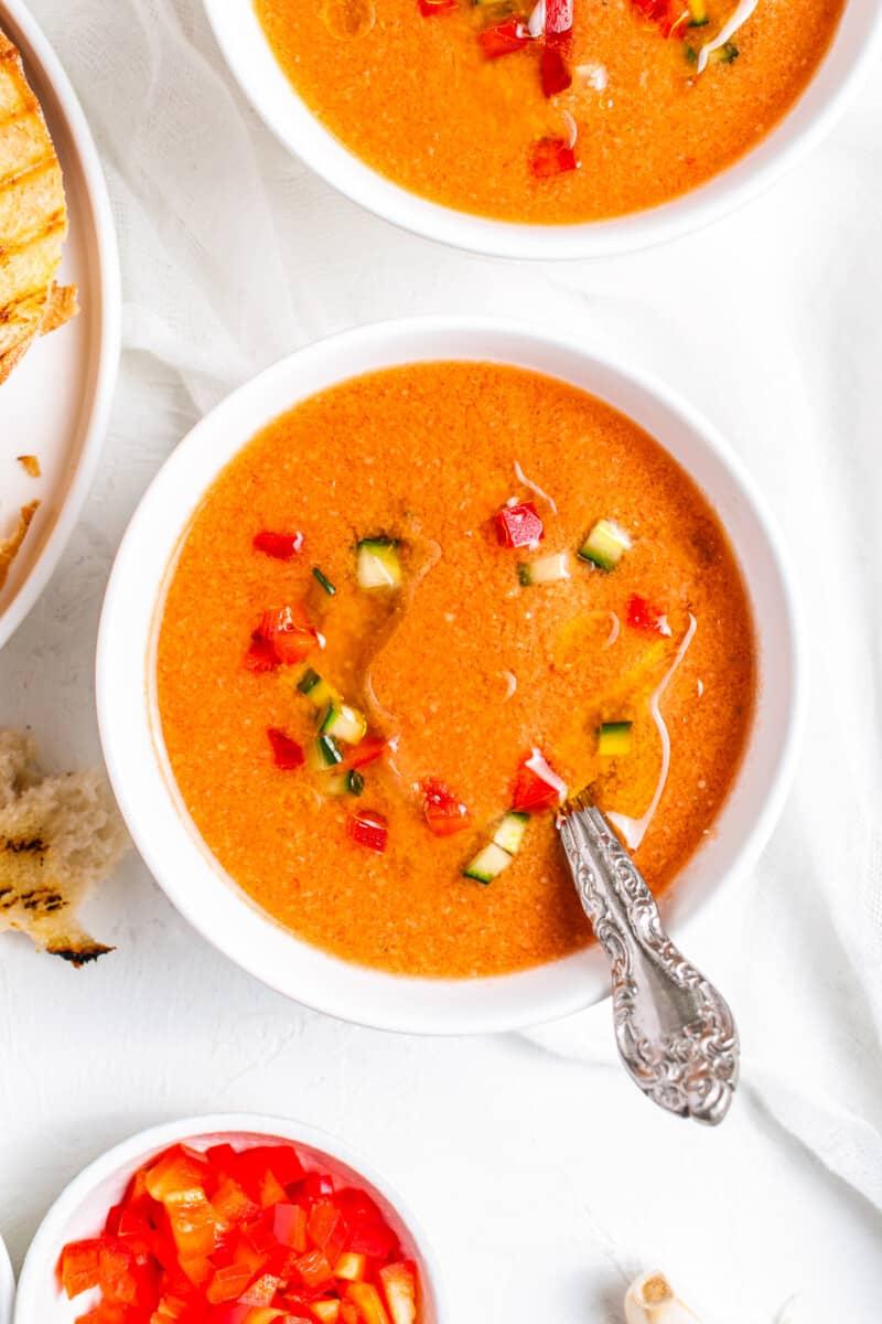 gazpacho in white bowl