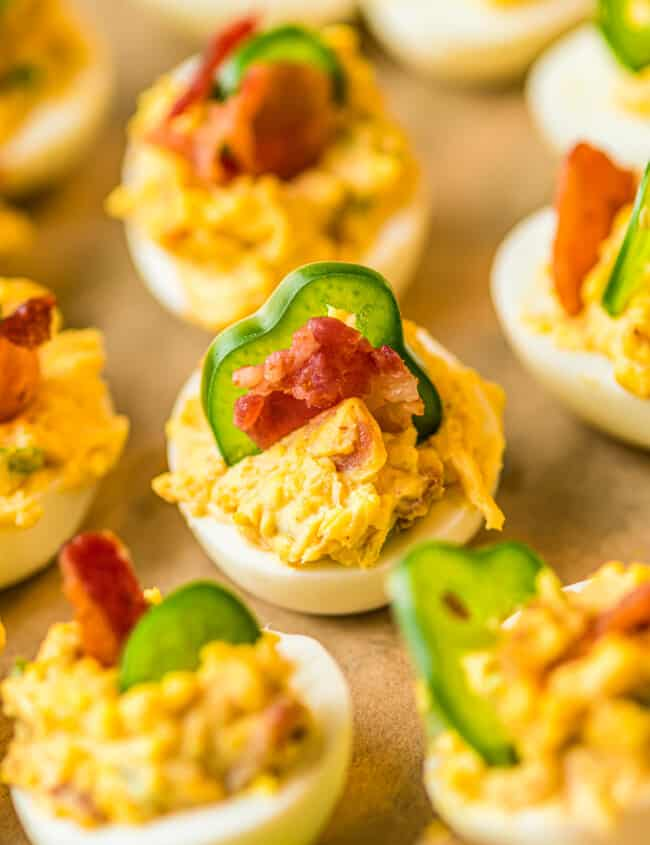 side image of up close jalapeno popper deviled eggs
