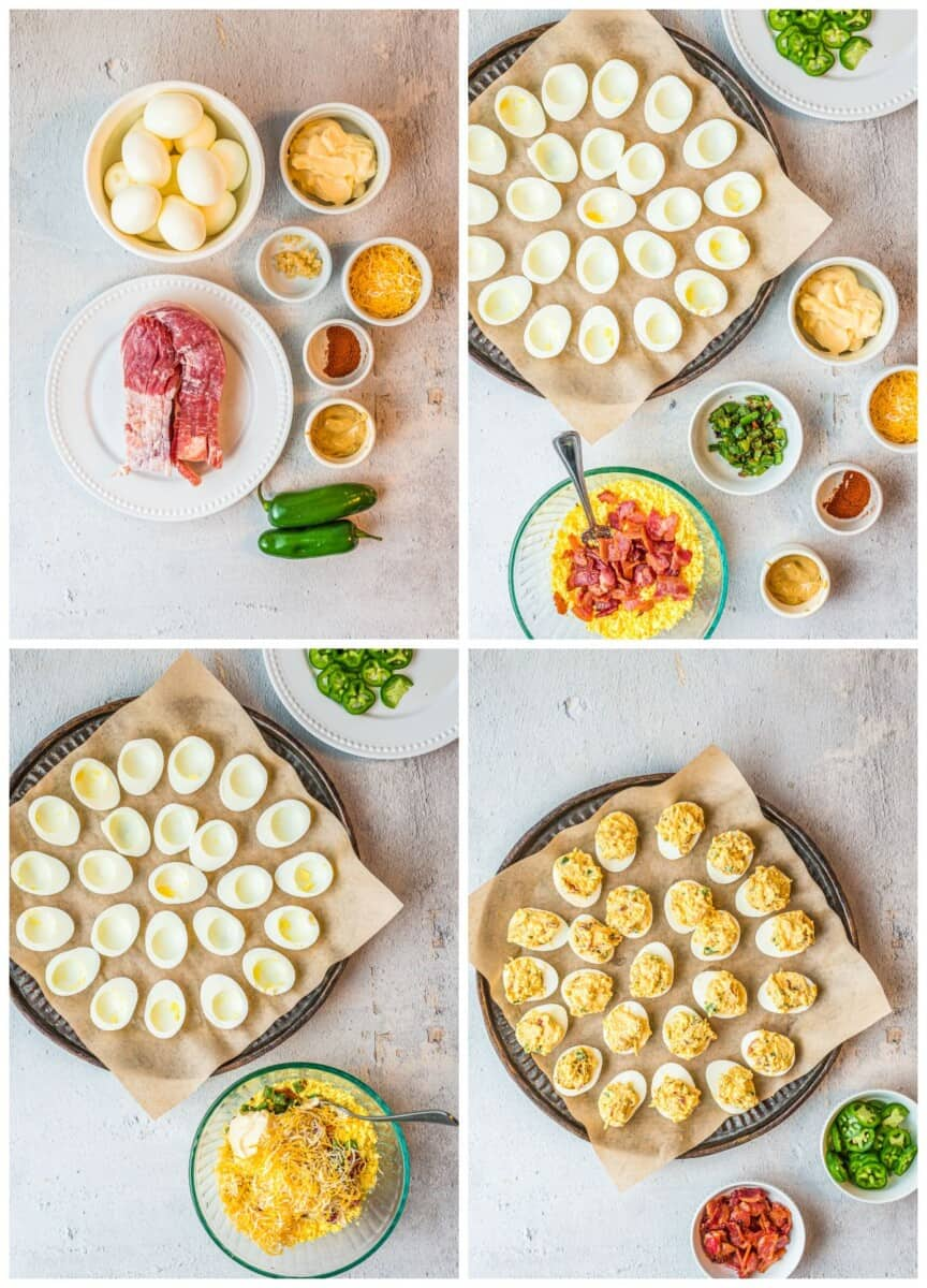 step by step photos for how to make jalapeno popper deviled eggs