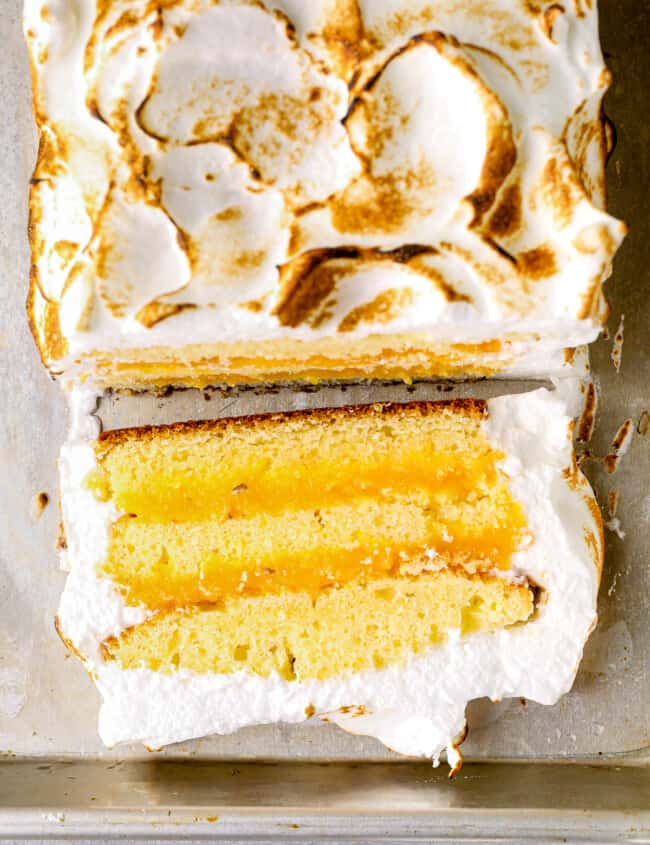 overhead lemon meringue cake