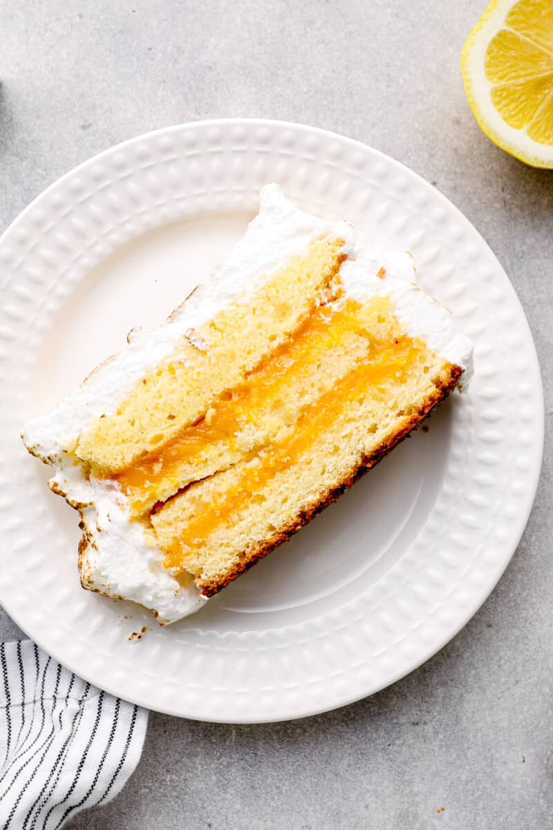 slice of lemon meringue cake