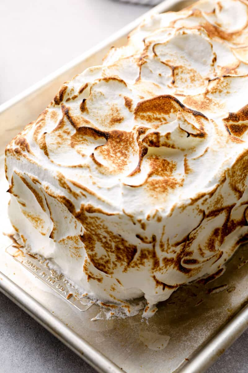 lemon meringue cake toasted
