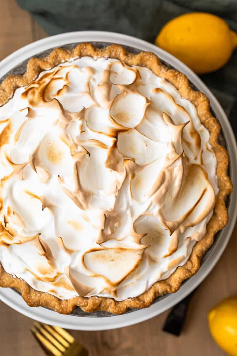 overhead image of make ahead lemon meringue pie