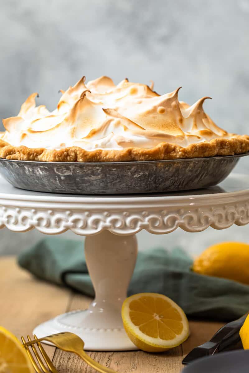 lemon meringue pie on cake stand