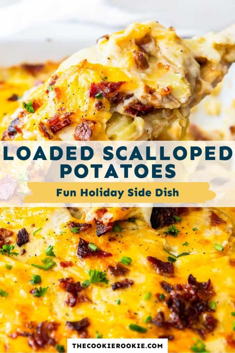 loaded scalloped potatoes pinterest collage
