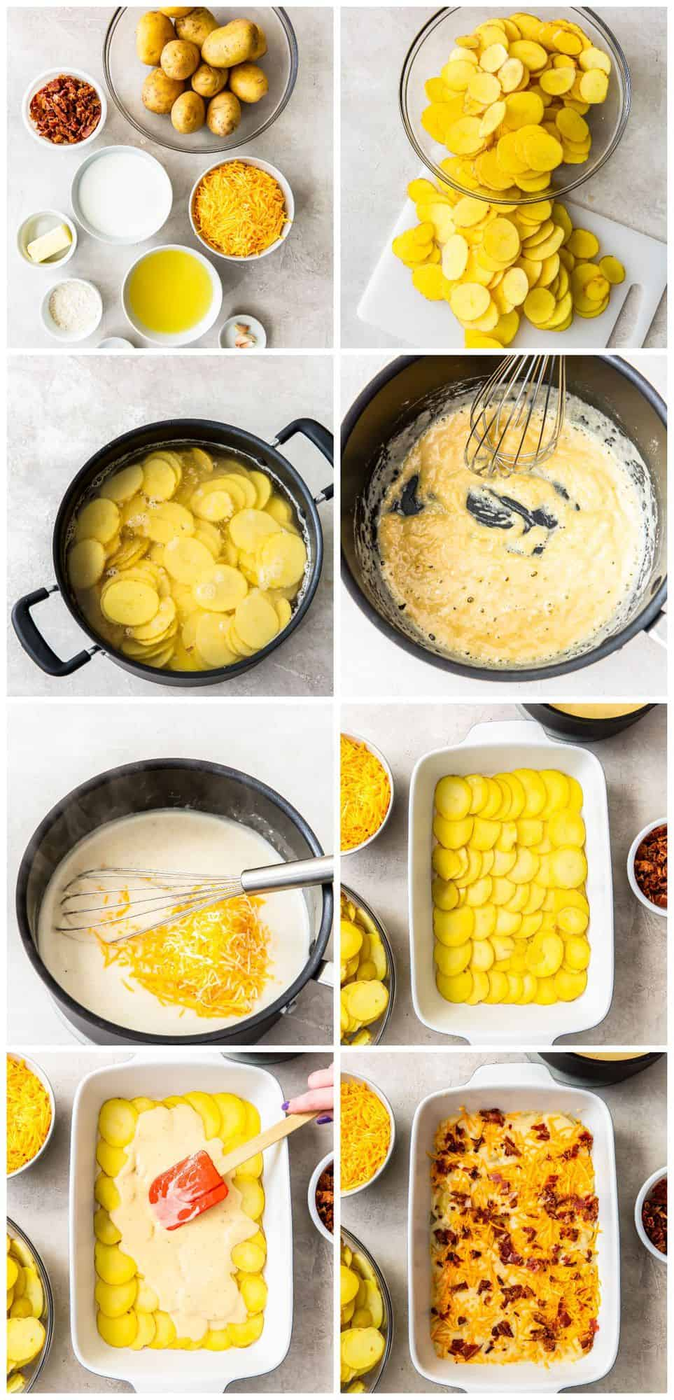 step by step photos for how to make loaded scalloped potatoes