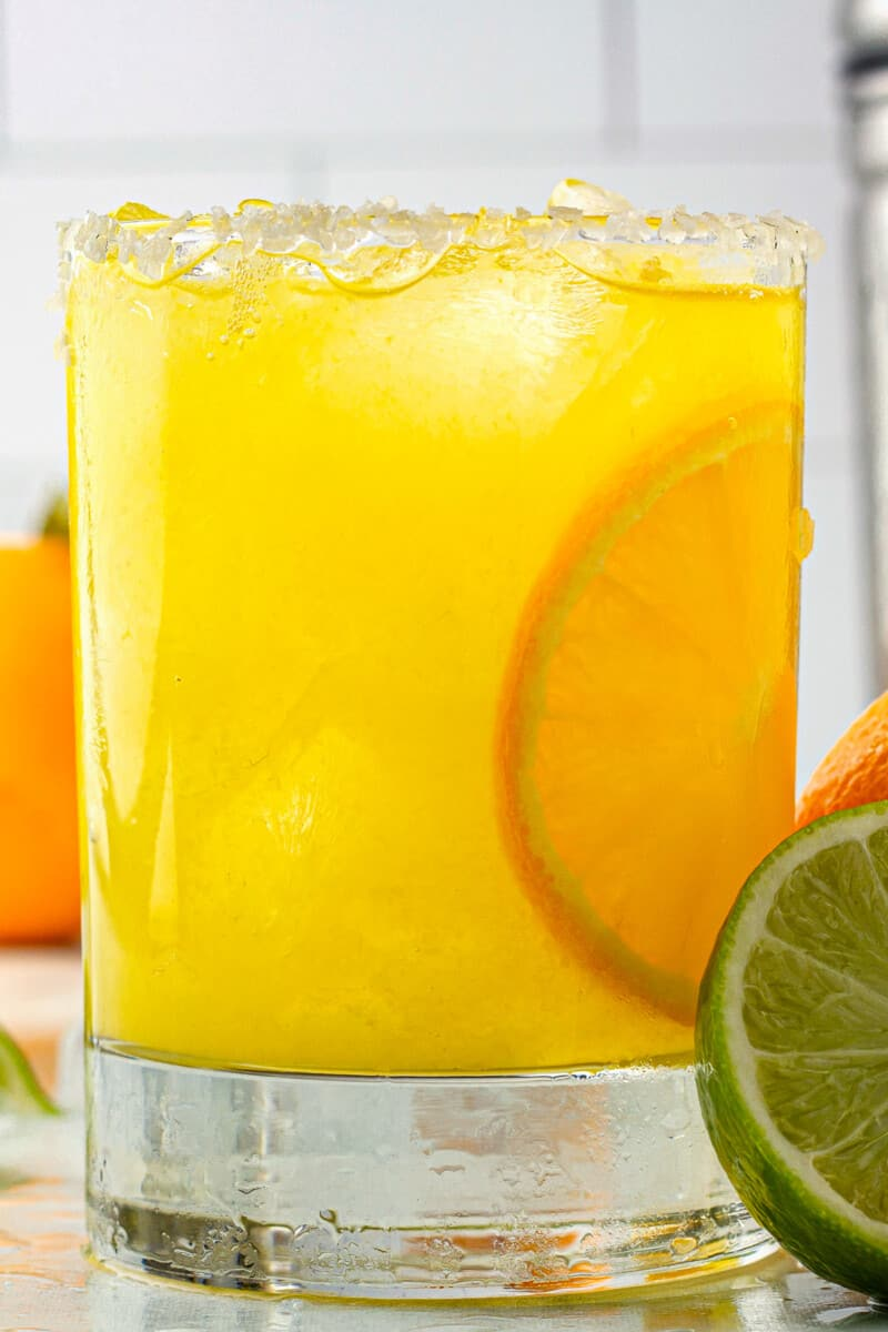up close orange margarita in glass