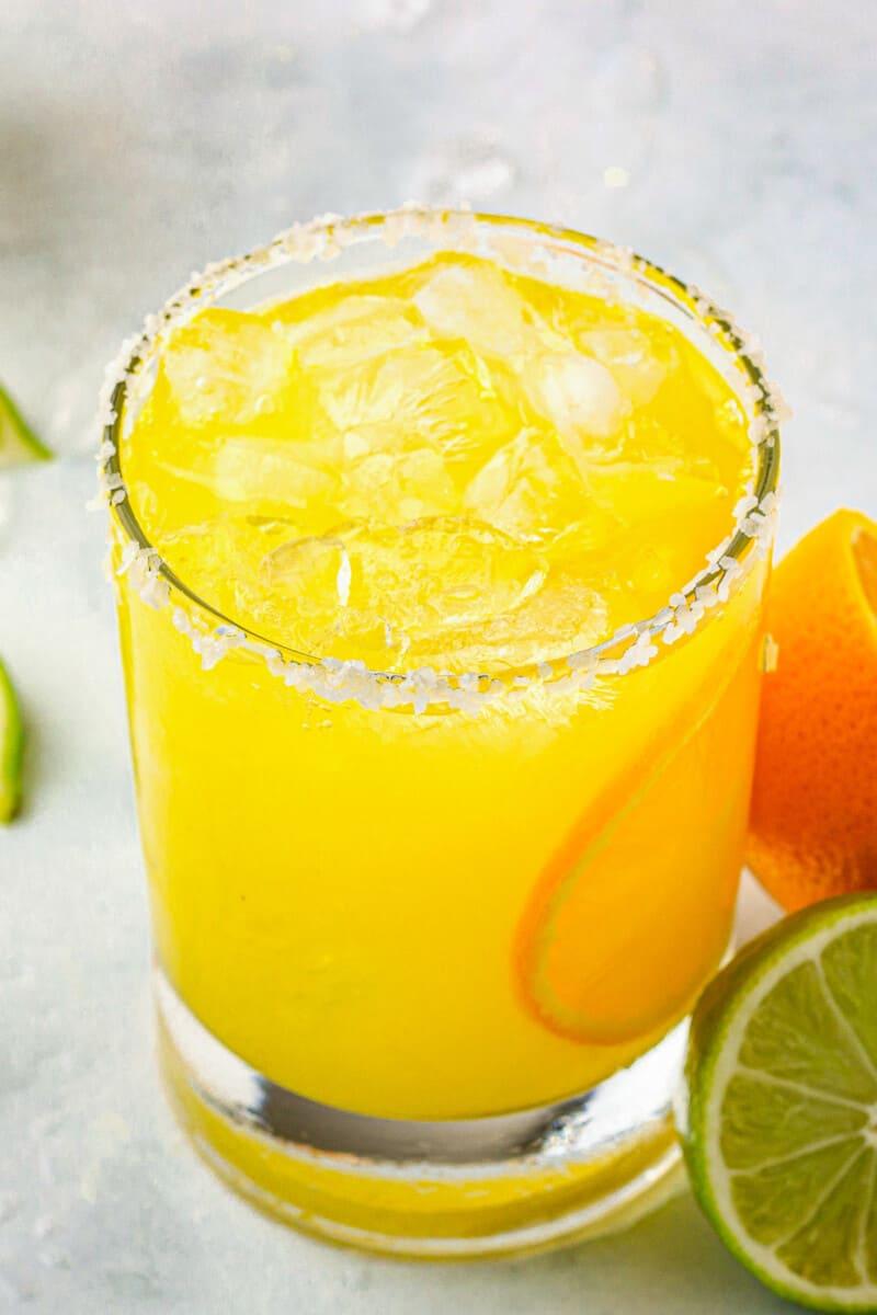 orange margarita with salt rim