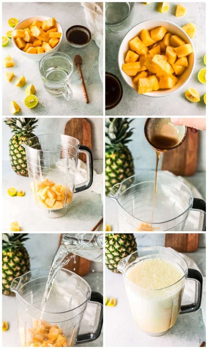 step by step photos for how to make pineapple agua fresca