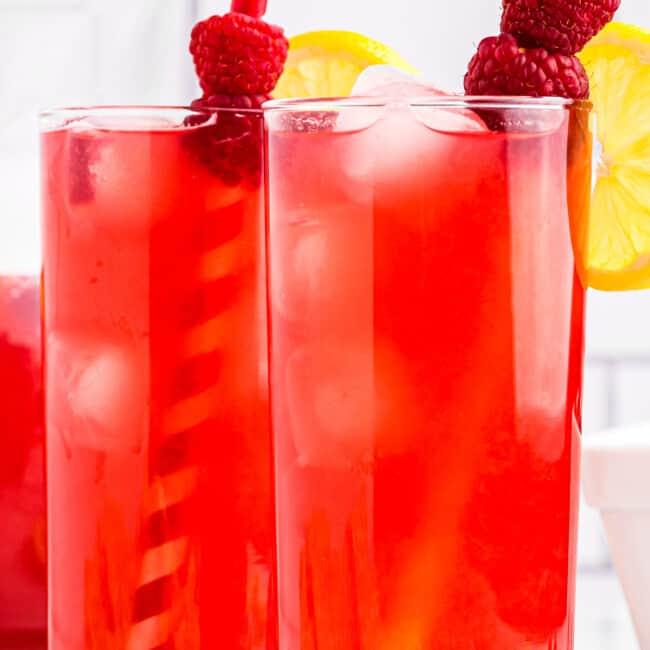 two glasses of raspberry lemonade