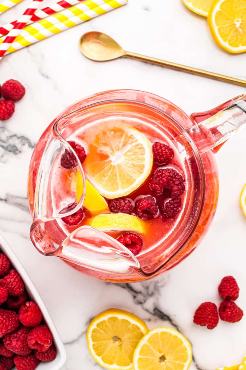 pitcher of raspberry lemonade