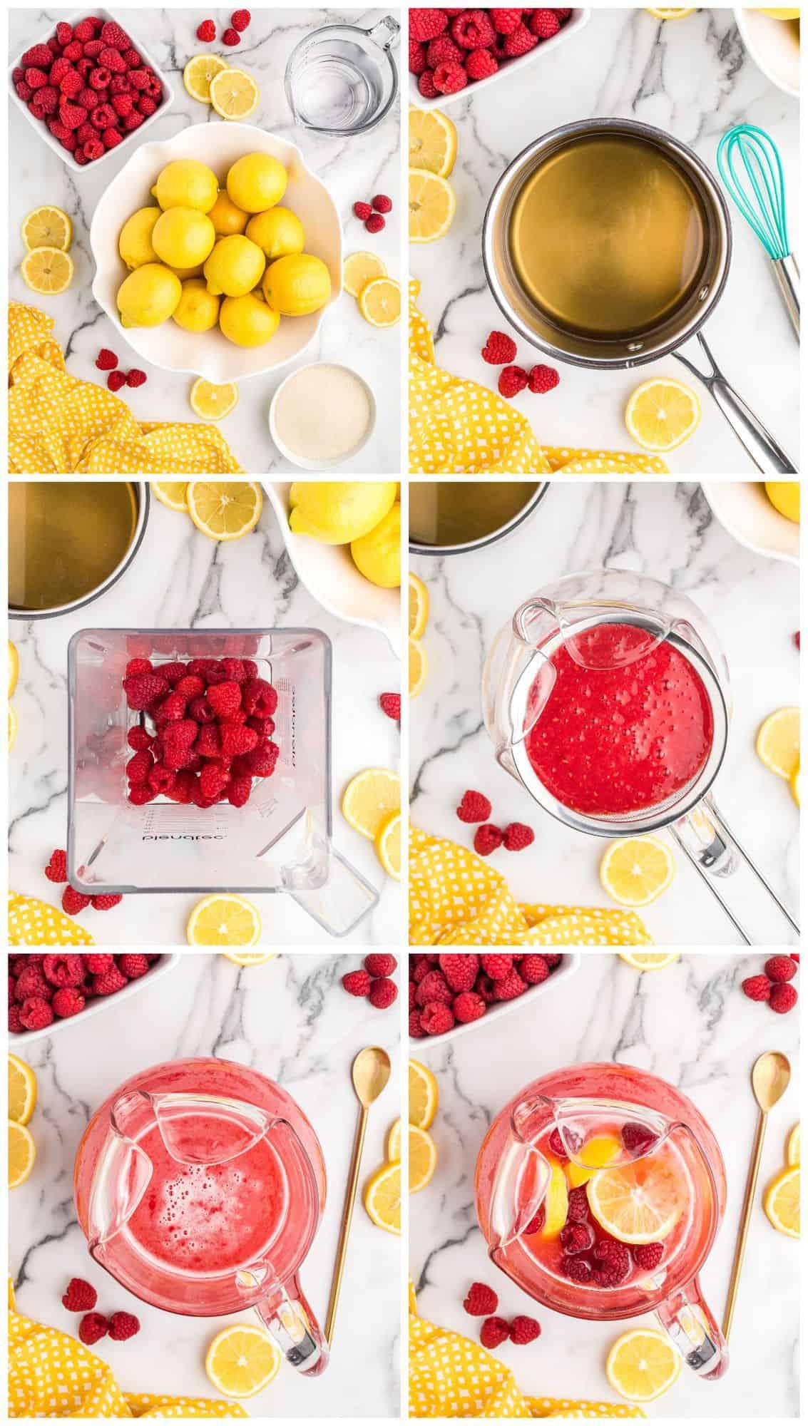 step by step photos for how to make raspberry lemonade