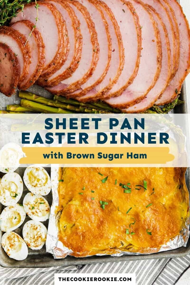 sheet pan easter dinner with ham pinterest collage