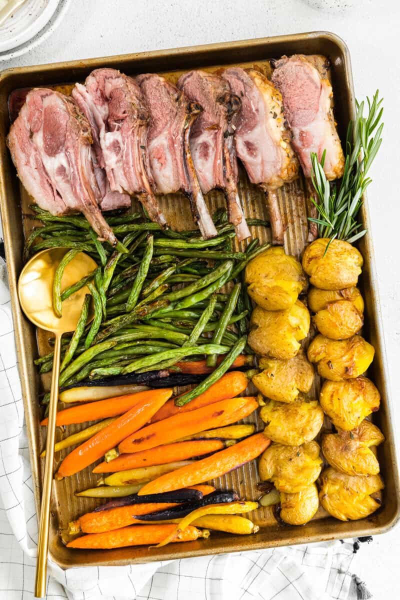 sheet pan easter dinner with lamb