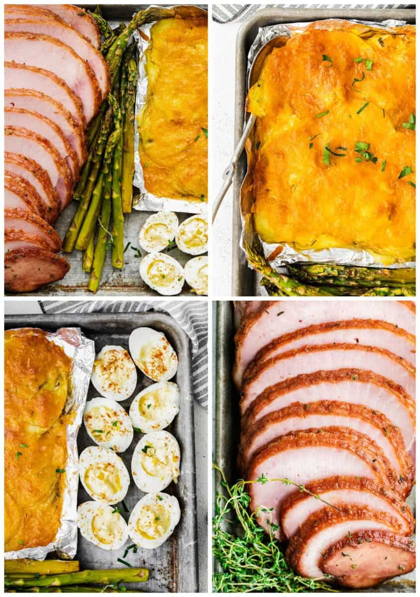 up close photos of the parts of sheet pan ham easter dinner