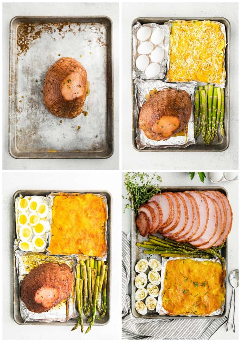 step by step photos for how to make sheet pan easter dinner with ham